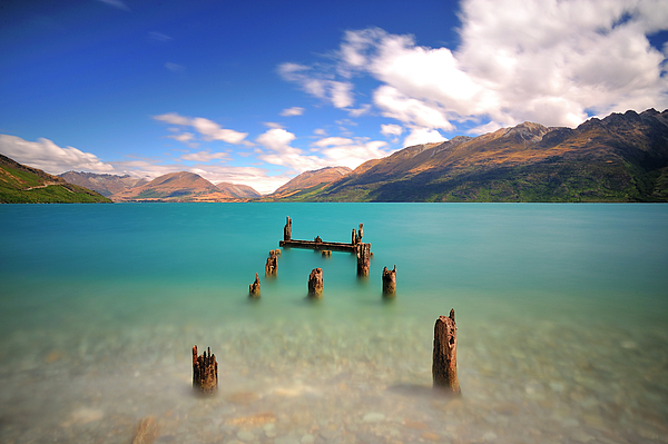 Broken Pier At Sea Print by Photography By Anthony Ko