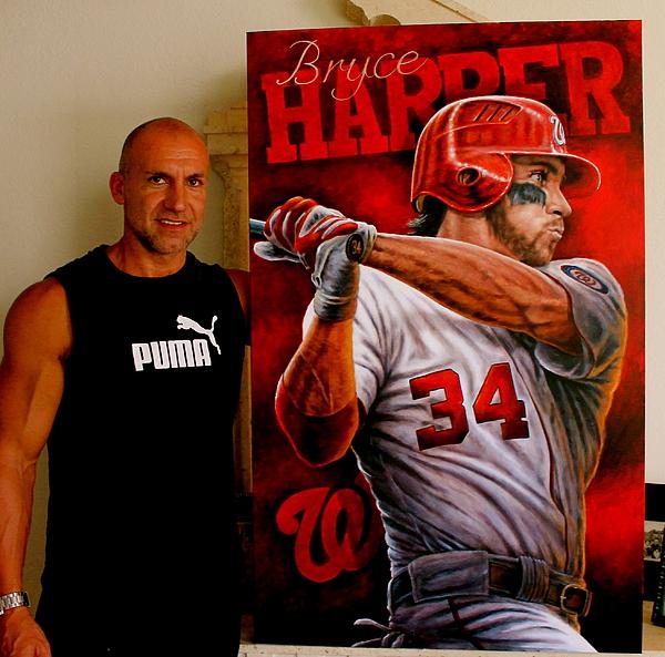 Sports Art World Wide John Prince - Bryce Harper Painting In Progress