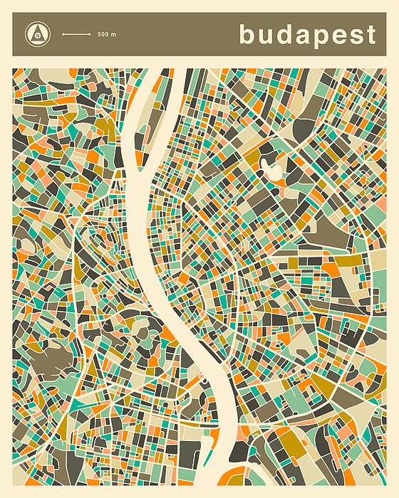 Budapest Map 2 by Jazzberry Blue