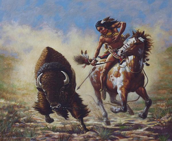 Buffalo Hunter Print by Harvie Brown