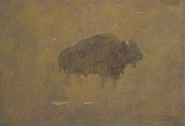 Buffalo In A Sandstorm Print by Albert Bierstadt