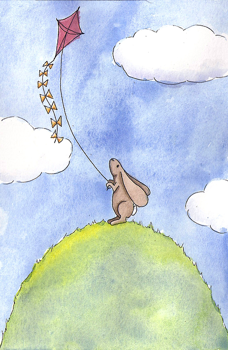 Bunny With A Kite Print by Christy Beckwith