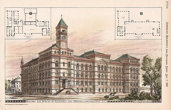 Bureau Of Engraving And Printing. Washington Dc. 1878 Print by Jas Hill