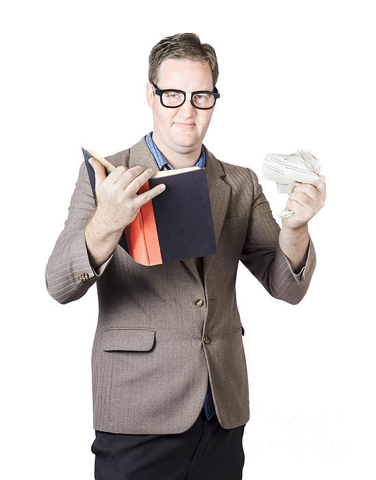 Businessman With Book And Crumpled Paper Print by Ryan Jorgensen