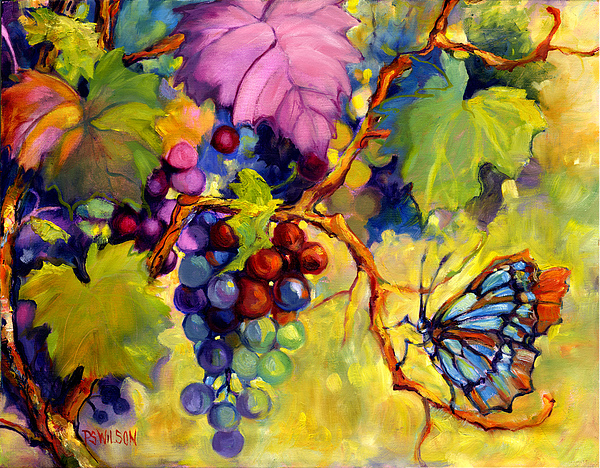 Butterfly And Grapes Print by Peggy Wilson