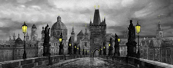 Bw Prague Charles Bridge 04 Print by Yuriy  Shevchuk