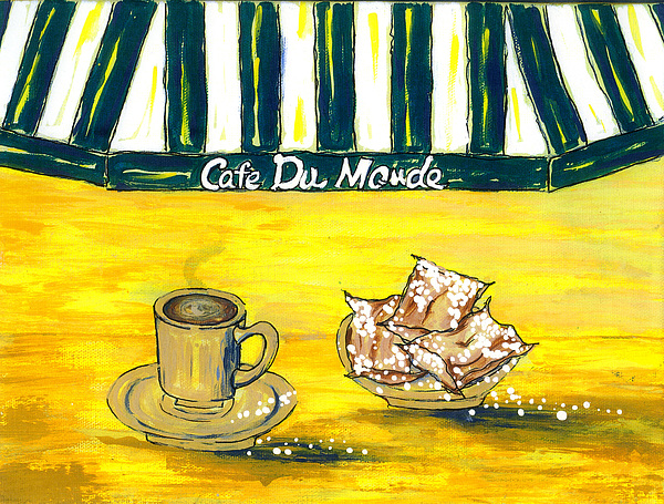 Cafe Au Lait And Beignets On Yellow Background Print by Catherine Wilson