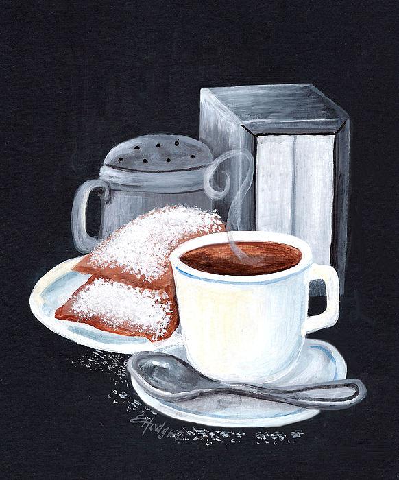 Cafe Du Monde On Black Print by Elaine Hodges
