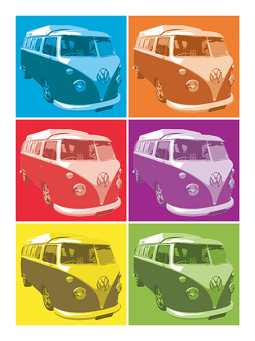 Camper Van Pop Art Print by Michael Tompsett
