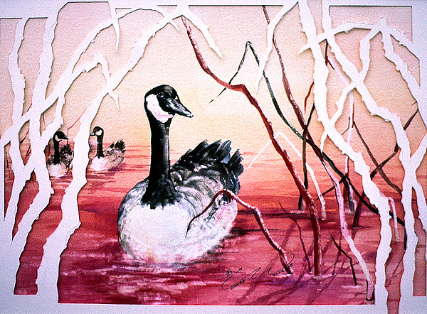 Canadian Geese Sunset Print by Connie Williams