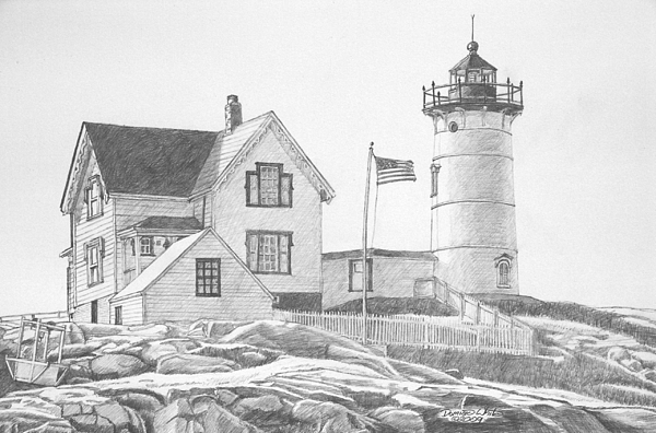 Cape Neddick Light House Drawing Print by Dominic White