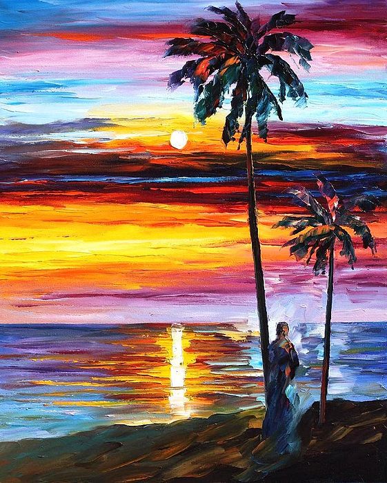 Leonid Afremov - Caribbean Mood - PALETTE KNIFE Oil Painting On Canvas By Leonid Afremov