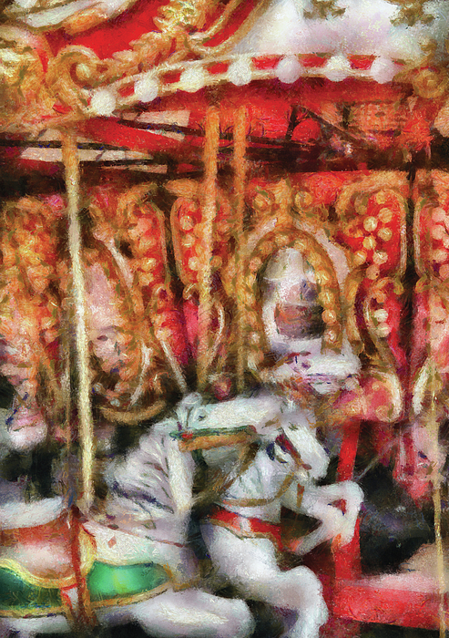 Carnival - The Carousel - Painted Print by Mike Savad