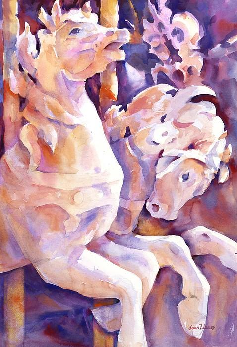 Carousel Horses Print by Joan  Jones