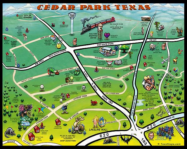 Cedar Park Texas Cartoon Map Print by Kevin Middleton