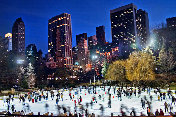 Central Park Skaters Print by June Marie Sobrito