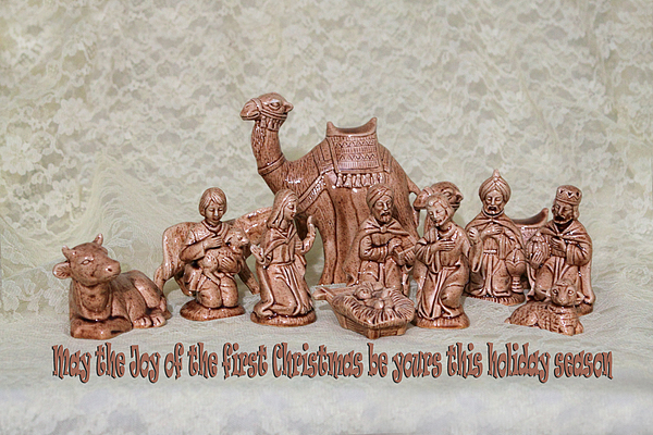 Ceramic Nativity Scene Print by Linda Phelps