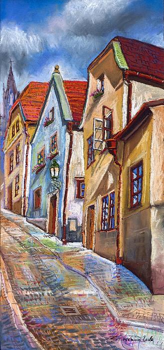 Cesky Krumlov Old Street 2 Print by Yuriy  Shevchuk