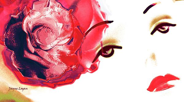 Cherry Lips Red Rose Girl Print by Jayne Logan Intveld