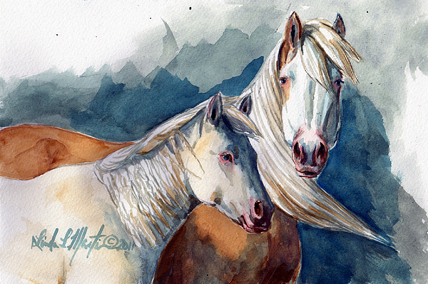 Cheyenne And Tripod Print by Linda L Martin
