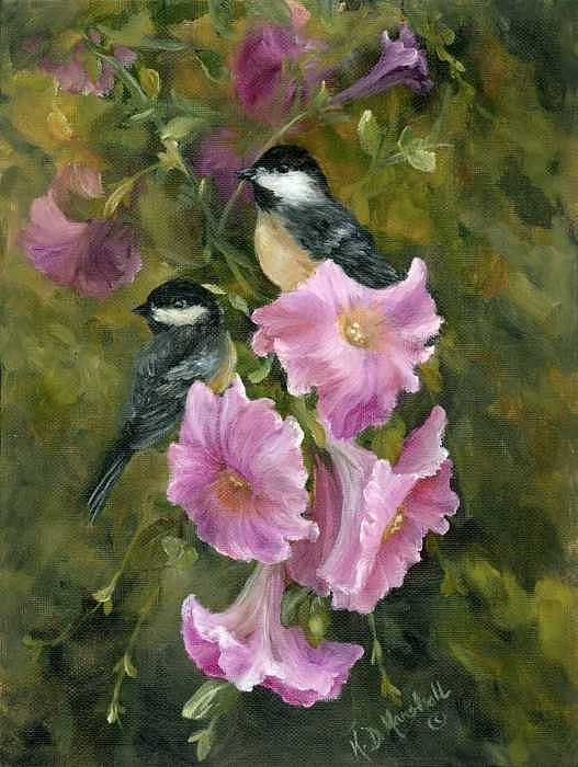 Kathleen Marshall McConnell - Chickadees and Lavender Petunias