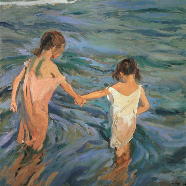 Children In The Sea Print by Joaquin Sorolla y Bastida