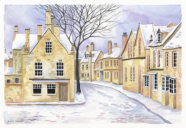 Chipping Campden In Snow Print by Scott Nelson