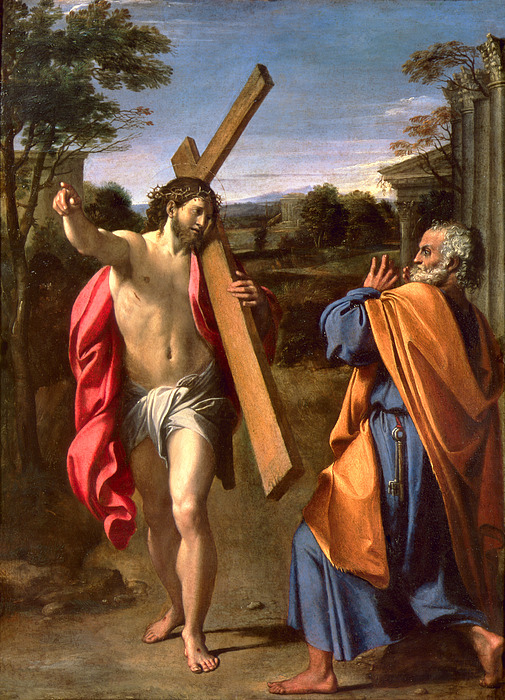 Christ Appearing To St. Peter On The Appian Way Print by Annibale Carracci