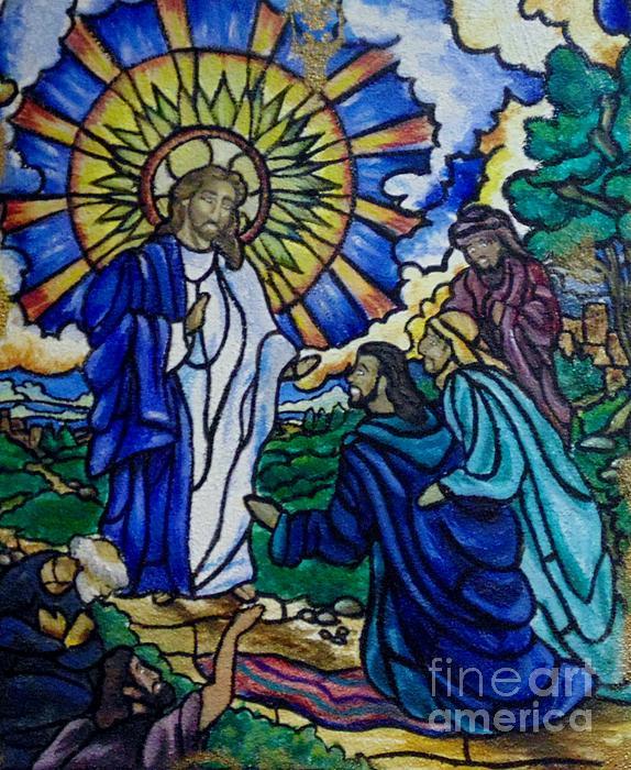Christ Healing Blind Bartimaeus Print by Antoinette Allen