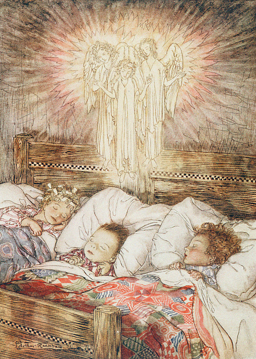 Christmas Illustrations From The Night Before Christmas Print by Arthur Rackham