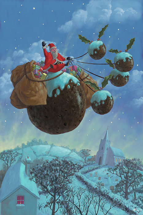 Christmas Pudding Santa Ride Print by Martin Davey