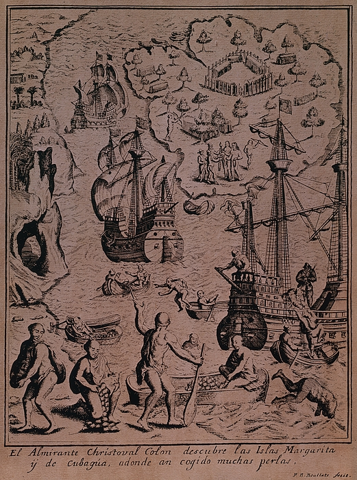 Christopher Colombus Discovering The Islands Of Margarita And Cubagua Where They Found Many Pearls Print by Spanish School