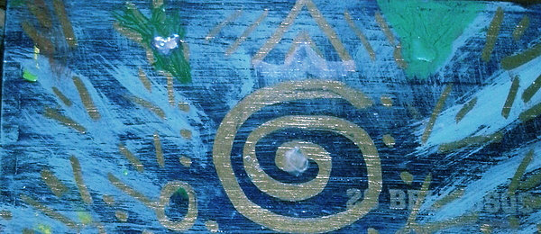 Circular Gold On Blue Print by Anne-Elizabeth Whiteway