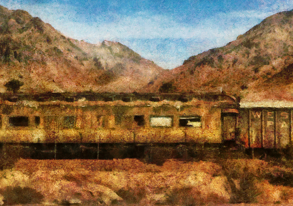 City - Arizona - Desert Train Print by Mike Savad