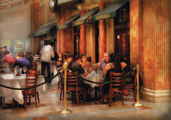 City - Venetian - Dining At The Palazzo Print by Mike Savad