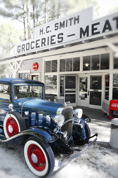 Classic Chevrolet Automobile Parked Outside The Store Print by Mal Bray