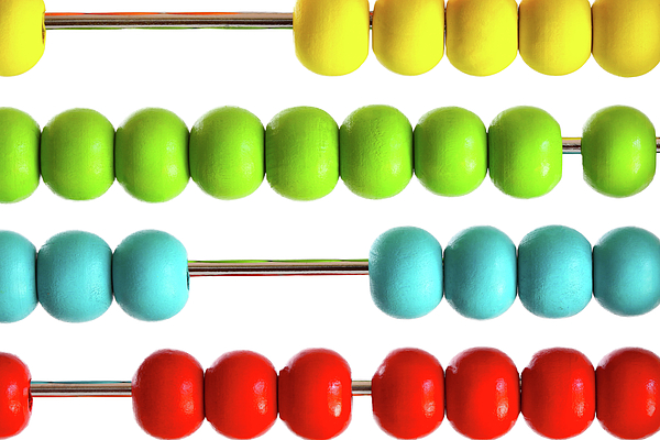 Closeup Of Bright  Abacus Beads On White Print by Sandra Cunningham