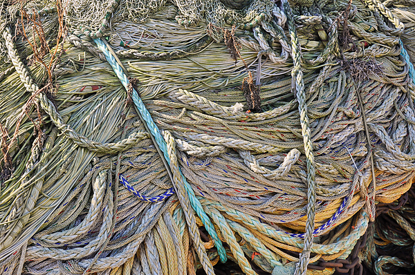 Closeup Of Fishing Nets And Ropes Print by Ruud Morijn