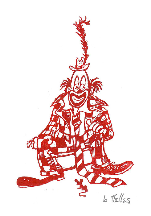 Clown With Mouse Print by Barry Nelles Art