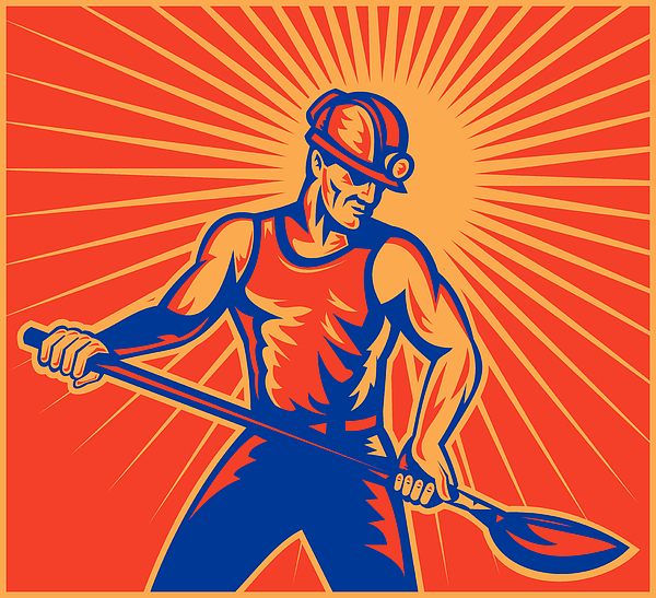 Coal Miner At Work With Shovel Front View Print by Aloysius Patrimonio