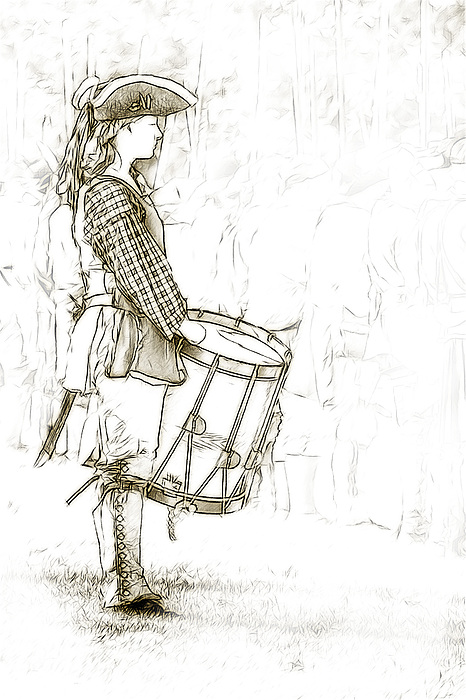 Colonial Drummer Portrait Sketch Print by Randy Steele