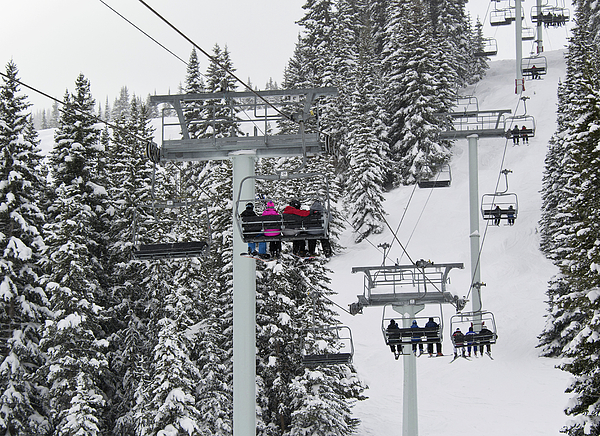 Colorado Chair Lift During Winter Print by Brendan Reals