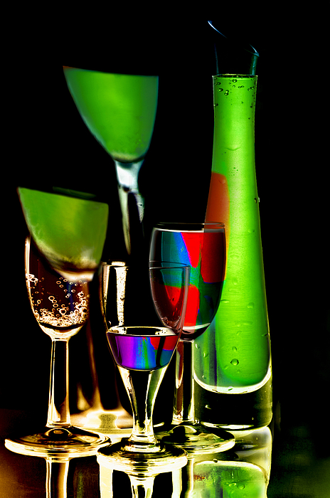 Colored wine glasses and bottles of drinks by larisa fedotova for Where to buy colored wine bottles