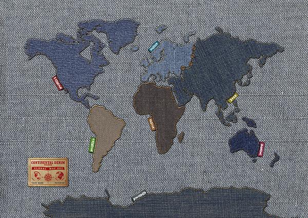 Continental Denim World Map Print by Michael Tompsett