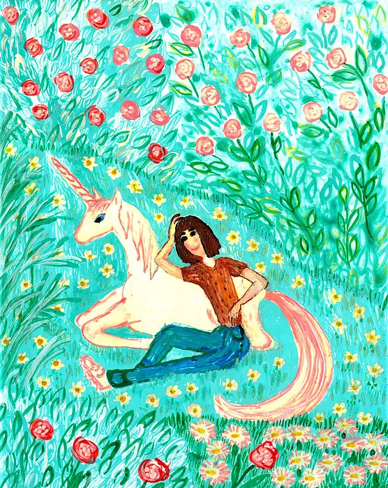 Conversation With A Unicorn Print by Sushila Burgess
