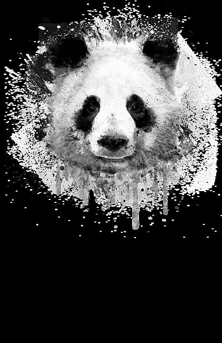 Cool Abstract Graffiti Watercolor Panda Portrait In Black