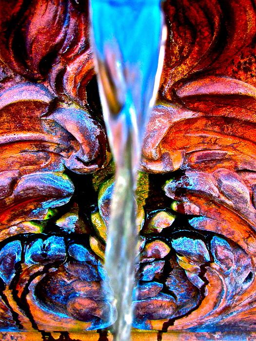 Courtyard Fountain Print by Gwyn Newcombe