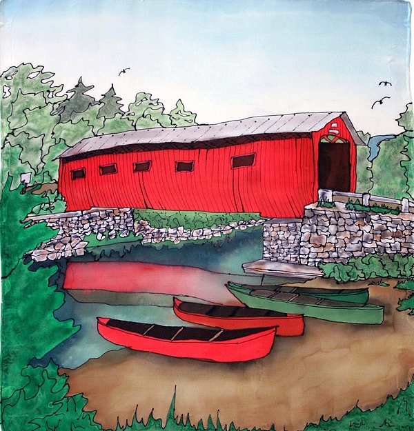 Covered Bridge And Canoes Print by Linda Marcille