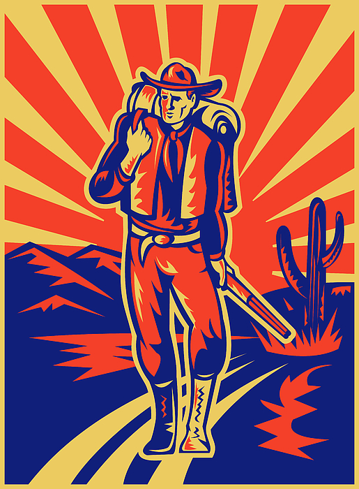 Cowboy With Backpack And Rifle Walking Print by Aloysius Patrimonio