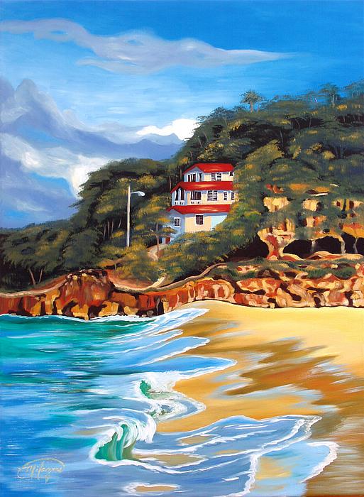 Crash Boat Beach Print by Milagros Palmieri